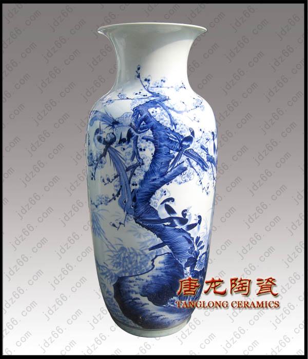 景德镇陶瓷收藏品青花瓷瓶手绘青花陶瓷花瓶高档家居装饰品