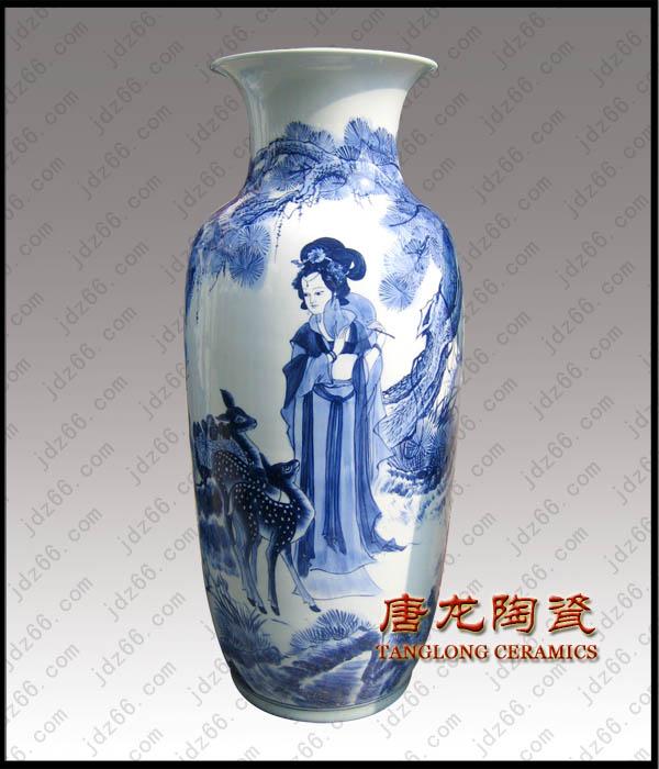 手绘青花陶瓷花瓶青花瓷瓶家居摆设陶瓷收藏品艺术陶瓷