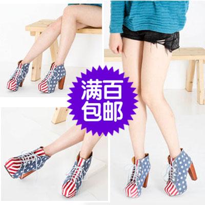 供应韩版女式高跟女靴 优质牛仔帆布 木制亮面高跟 时尚感十足