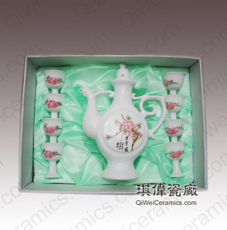 餐饮用品陶瓷酒具,景德镇陶瓷酒具,粉彩陶瓷酒具