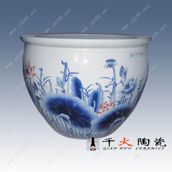 供应陶瓷缸,手绘青花陶瓷缸,手工雕刻陶瓷缸,景德镇陶瓷厂家