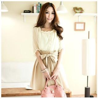 款时尚雪紡上衣+車折短裙假兩件洋裝女装连衣裙8096