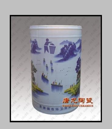 陶瓷垃圾桶,垃圾桶的画面是手工绘画的