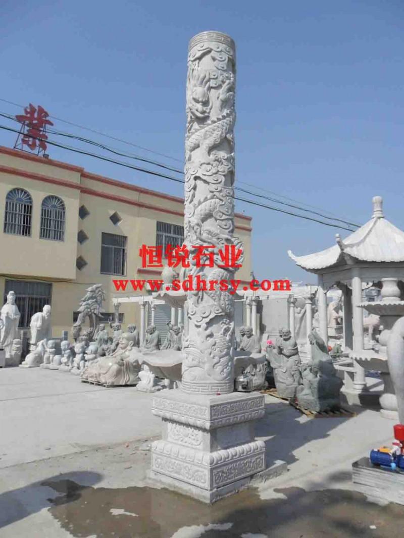 石雕,龙柱子,十二生肖龙柱子