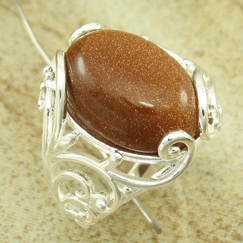 欧美流行饰品 宝石饰品 黄金沙石戒指 925银饰品 促销