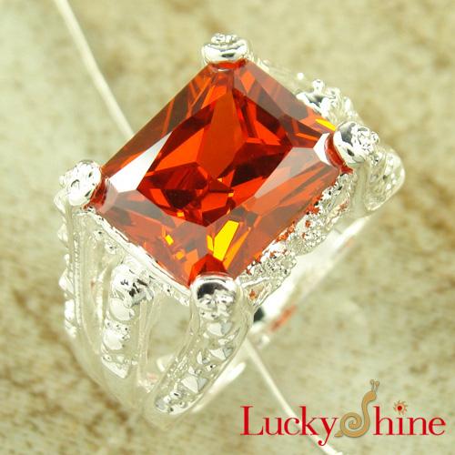 潮流饰品批发 橘红色锆石戒指 特色饰品 925银饰 加工