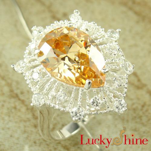 厂家直销 外贸925银饰品 香槟色锆石戒指 时尚别致款