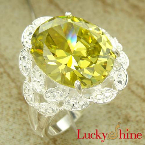 供应欧美款式 果绿色锆石戒指 镀925银 厂家直销 库存