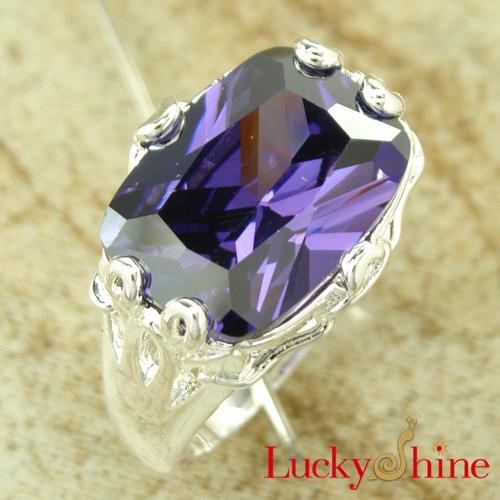 时尚流行饰品 镀925纯银 紫蓝色锆石戒指 戒指批发