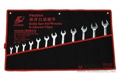 菲克苏_12件挂袋呆扳手套装开口扳手组套工具汽修工具