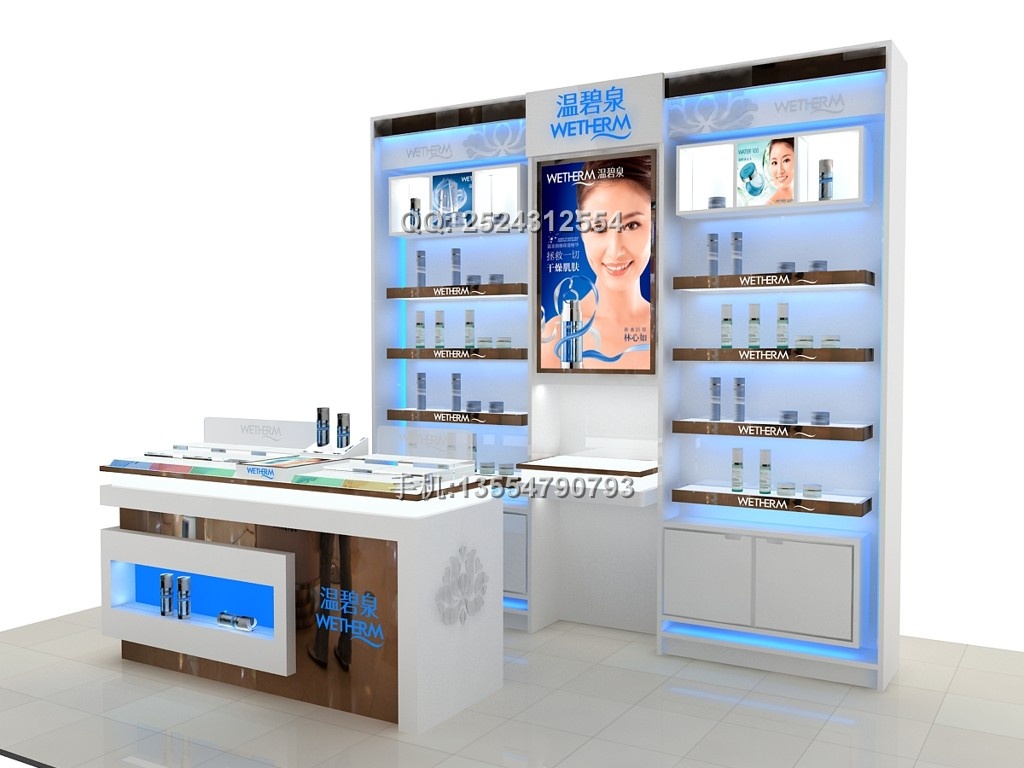 美肤宝化妆品展柜,自然堂化妆品展示柜订做,化妆品展柜设计