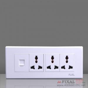 菲克苏_FLKL118型开关插座面板_远景雅白带荧光系列_四位电脑 成