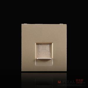 菲克苏_FLKL_118型墙壁开关插座面板_C3香槟金系列_电脑模块_ 深