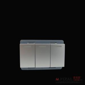 菲克苏_FLKL_118型墙壁开关插座面板_TL90铝拉丝_小三开模块_ 北