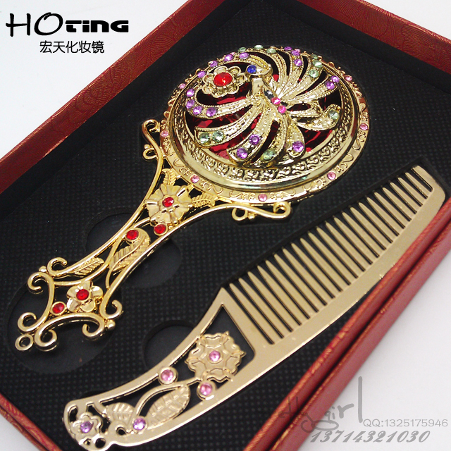 手柄镜子[带梳子]套装精美化妆镜银色镂空手柄化妆镜礼品镜