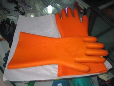 菲克苏_20KV_带电作业_橙色_橡胶绝缘手套_防护手套_电工手套