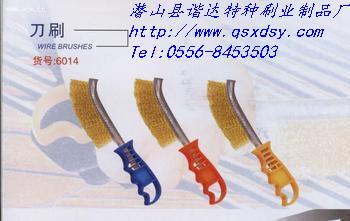 镀铜丝刀刷|不锈钢丝刀刷|镀铜丝除锈刷|刀形钢丝刷|