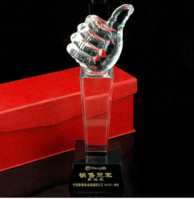 广州常规现货水晶奖杯批发最佳组织奖大拇指奖杯