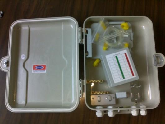 室外抱杆式二槽道SMC光纤配线箱