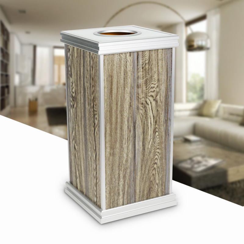 木纹垃圾桶加圆投递口钢化玻璃大容量果皮箱