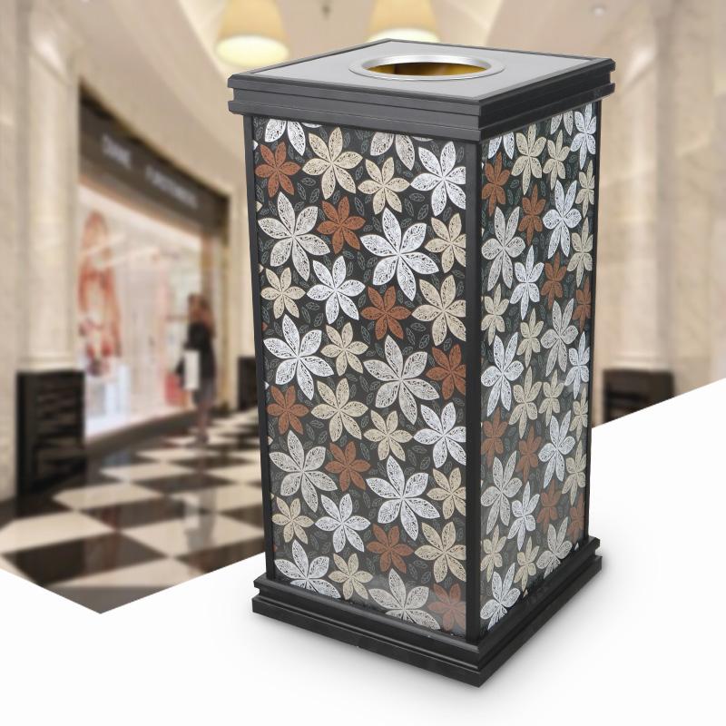 欧式田园碎花垃圾桶钢化玻璃可更换画面果皮箱