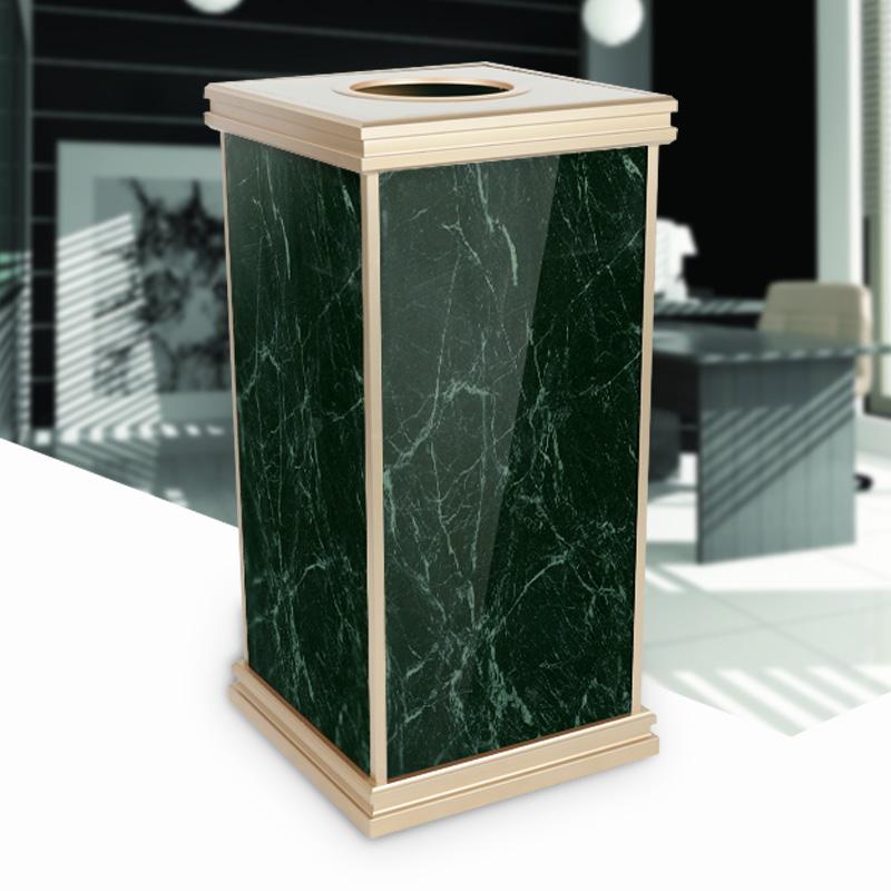大理石纹座地垃圾箱果皮箱可更换画面