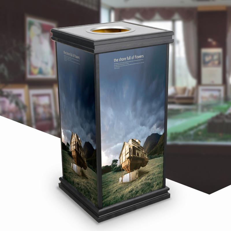 新款优雅画面包厢大堂银行垃圾桶新型材料