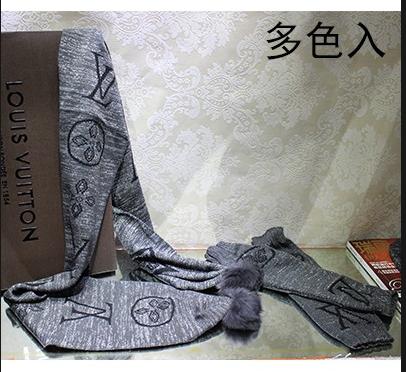 路易威登LV100%羊毛套帽围巾 保暖手套