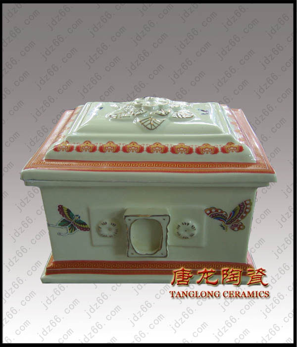 雕刻白瓷骨灰盒陶瓷盒子寿棺批发