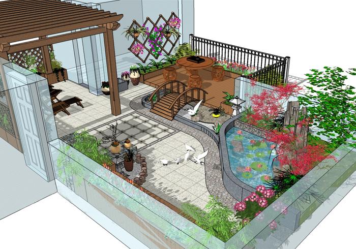 阳台花园手绘平面图