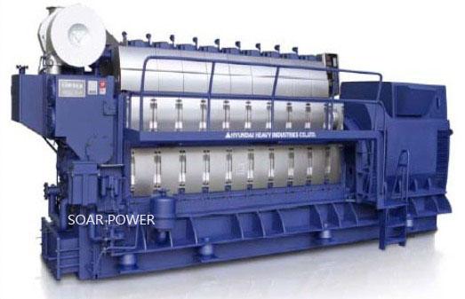 供应现代船用发电机组(538KW~9,600KW)