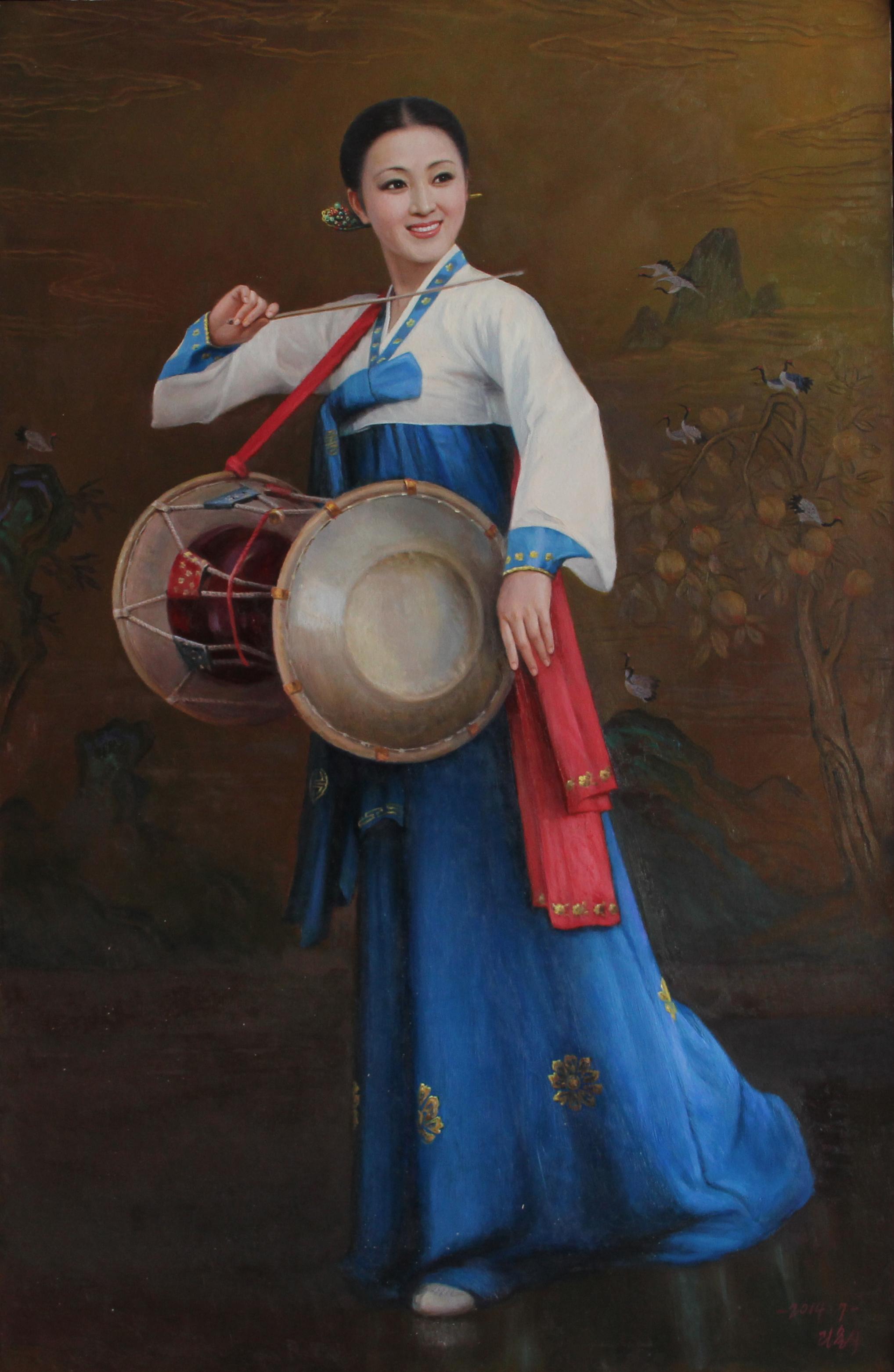 朝鲜油画人民艺术家图片