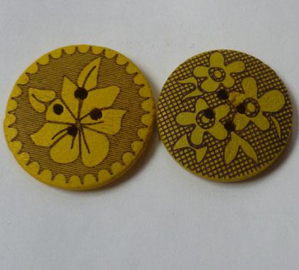 喷漆镭射花纹木纽扣,木头钮