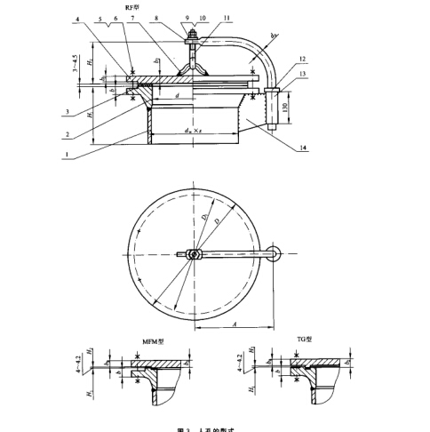 HG/T21524-2014水平吊盖带颈对焊法兰人孔