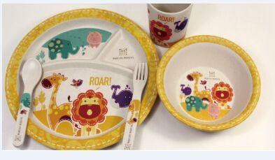 竹纤维餐具婴儿碗碟套装宝宝竹碗五件套