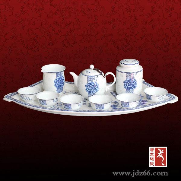 青花茶具/大师手绘青花茶具定做