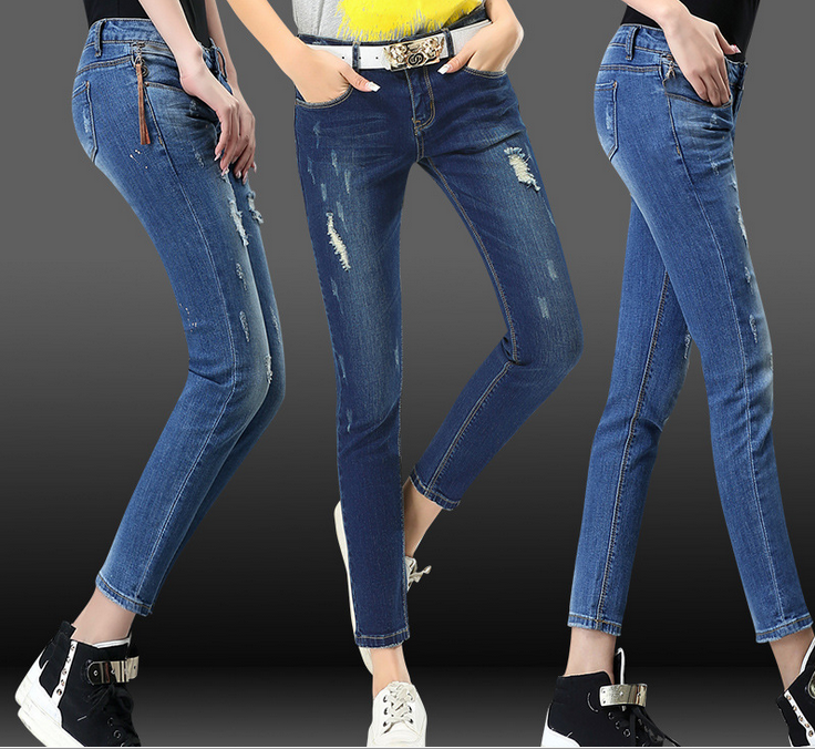 时尚牛仔裤便宜韩版铅笔裤批发低价清货处理