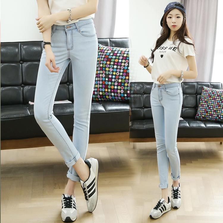 时尚修身牛仔裤批发最低价的女士小脚裤批发