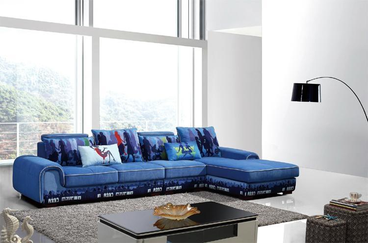 欧也家居定制 蓝色休闲转角布艺沙发